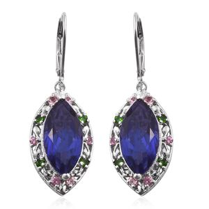 Playa Quartz, Pink Tourmaline, Russian Diopside Platinum Over Sterling Silver Leaf Lever Back Earrings TGW 10.55 cts.