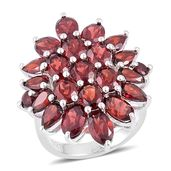 Mozambique Garnet Sterling Silver Cluster Ring (Size 7.0) TGW 9.14 cts.
