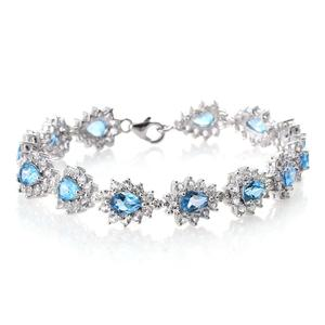 Marambaia Topaz, White Topaz Platinum Over Sterling Silver Contemporary Style Bracelet (7.75 In) TGW 20.66 cts.