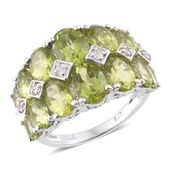 Hebei Peridot, Cambodian Zircon Platinum Over Sterling Silver Ring (Size 7.0) Total Gem Stone Weight 9.50 Carat