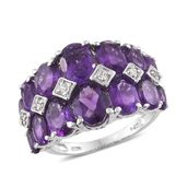 Lusaka Amethyst, Cambodian Zircon Ring in Platinum Over Sterling Silver Total Gem Stone Weight 8.17 Carat (Size 7.0)