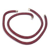 Wine Red Acrylic Beads Silvertone One Pair Bianca (19-20 in)