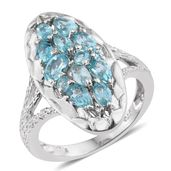 Madagascar Paraiba Apatite, Cambodian Zircon Platinum Over Sterling Silver Elongated Ring (Size 5.0) TGW 2.32 cts.