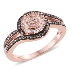 Natural Pink and Champagne Diamond 14K RG Over Sterling Silver Ring (Size 9.0) TDiaWt 0.53 cts, TGW 0.53 cts.