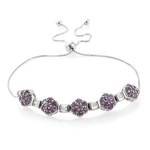 White Topaz, Madagascar Purple Sapphire Platinum Over Sterling Silver Magic Ball Bracelet (Adjustable) TGW 2.42 cts.