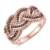 Natural Pink and Champagne Diamond Black Rhodium & 14K RG Over Sterling Silver Criss Cross Ring (Size 7.0) TDiaWt 0.74 cts, TGW 0.74 cts.