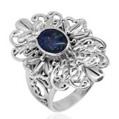 Bali Legacy Collection Australian Boulder Opal Sterling Silver Ring (Size 11.0) TGW 1.34 cts.