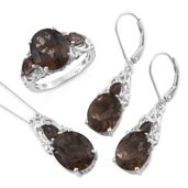 Brazilian Smoky Quartz, Cambodian Zircon Platinum Over Sterling Silver Lever Back Earrings, Ring (Size 7) and Pendant With Chain (20 in) TGW 16.80 cts.