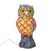 Doorbuster Hand Painted Multi Color Tiffany Style Owl Night Lamp with Chroma Base Stand (7x5x5.5 in)