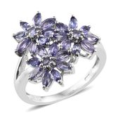 Tanzanite Platinum Over Sterling Silver Floral Ring (Size 5.0) TGW 1.98 cts.