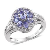 Tanzanite, Cambodian Zircon Platinum Over Sterling Silver Floral Ring (Size 5.0) TGW 2.10 cts.