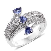 Tanzanite, Cambodian Zircon Platinum Over Sterling Silver Trillion Cut Bypass Ring (Size 9.0) TGW 1.50 cts.