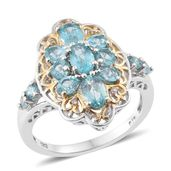 Madagascar Paraiba Apatite, Cambodian Zircon 14K YG and Platinum Over Sterling Silver Ring (Size 7.0) TGW 2.74 cts.