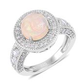 Ethiopian Welo Opal, White Zircon Platinum Over Sterling Silver Halo Ring (Size 5.0) TGW 2.50 cts.