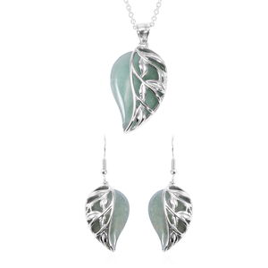 Green Aventurine Stainless Steel Leaf Earrings and Pendant, With Chain (20 in) TGW 70.00 cts.