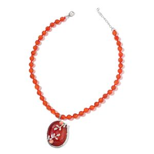 Enhanced Red Agate, Lab Created Cats Eye Orange Silvertone Necklace (18 in) TGW 241.50 cts.