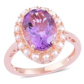 Rose De France Amethyst, Freshwater Pearl 14K RG Over Sterling Silver Ring (Size 10.0) TGW 6.37 cts.