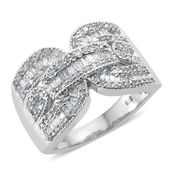 Diamond Platinum Over Sterling Silver Ring (Size 6.0) TDiaWt 1.00 cts, TGW 1.00 cts.