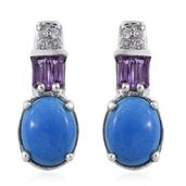 Ceruleite, Amethyst, Cambodian Zircon Platinum Over Sterling Silver Earrings TGW 3.72 cts.