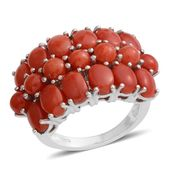 Mediterranean Coral Platinum Over Sterling Silver Ring (Size 6.5) TGW 7.75 cts.