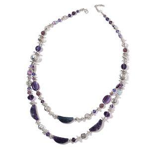 Purple Fluorite, Multi Gemstone Silvertone Drape Necklace (33 in) TGW 730.00 cts.