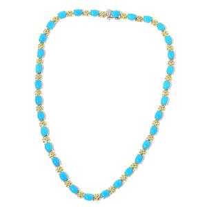 Arizona Sleeping Beauty Turquoise, Malgache Neon Apatite 14K YG Over Sterling Silver Line Necklace (18 in) Total Gem Stone Weight 33.40 Carat