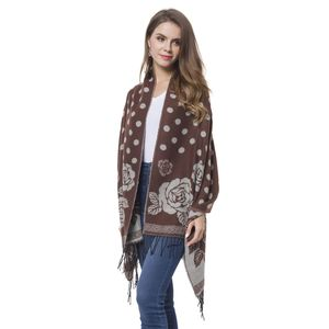Brown and White Rose and Polka Dot Pattern 60% Acrylic and 40% Polyester Reversible Shawl with Fringe (78x26 in)