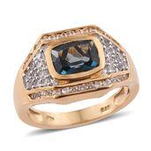 Karen's Fabulous Finds London Blue Topaz, Cambodian Zircon 14K YG Over Sterling Silver Ring (Size 7.0) TGW 3.45 cts.