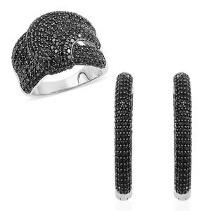 Thai Black Spinel Black Rhodium Sterling Silver Knot Ring (Size 6) and Inside Out Latch Back Hoop Earrings TGW 7.80 cts.