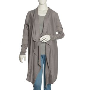 Gray 100% Cotton Long Sleeve Open Waterfall Cardigan (S/M)