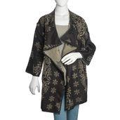 Black and Tan 100% Acrylic Open Waterfall Cardigan Sweater (X/XL)