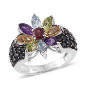 Jessica Host Pick Multi Gemstone Black Rhodium & Platinum Over Sterling Silver Sunflower Ring (Size 8.0) TGW 3.79 cts.