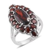 Mozambique Garnet Platinum Over Sterling Silver Ring (Size 6.0) TGW 8.15 cts.