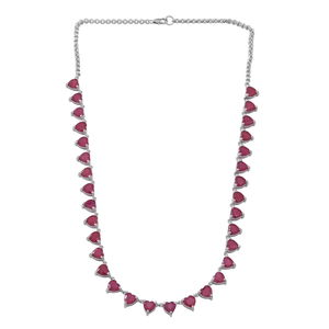 Niassa Ruby Sterling Silver Heart Necklace (18 in) TGW 46.40 cts.