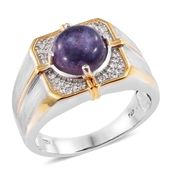 Sierra Madre Purple Opal, Cambodian Zircon 14K YG and Platinum Over Sterling Silver Men's Ring (Size 12.0) TGW 3.66 cts.