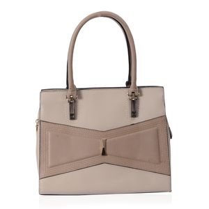 Light Beige and Taupe Geometric Bowtie Faux Leather Tote Bag with Removable Strap (52 in) Standing Stud (12.5x6x10 in)