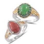Burmese Green Jade, Oregon Peach Opal, Kagem Zambian Emerald, Cambodian Zircon 14K YG and Platinum Over Sterling Silver Set of 2 Ring (Size 9) TGW 6.76 cts.