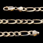 14K YG Over Sterling Silver Figaro Chain (30 in)