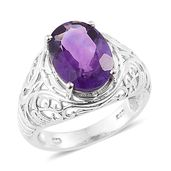 Lusaka Amethyst Platinum Over Sterling Silver Ring (Size 6.0) TGW 5.65 cts.