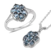Karen's Fabulous Finds London Blue Topaz Platinum Over Sterling Silver Ring (Size 5) and Pendant With Chain (20 in) TGW 2.90 cts.