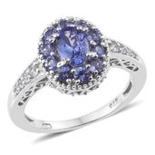 Premium AAA Tanzanite, Cambodian Zircon Platinum Over Sterling Silver Ring (Size 7.0) TGW 1.96 cts.