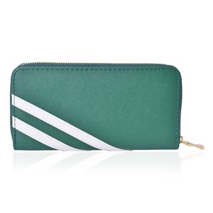 Green and White Faux Leather Wallet (7.5x1x4 in)