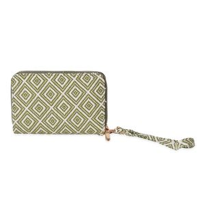 Green and White Daimond Checks Square Ikat Pattern Leather Wallet (6.7x1x4 in)