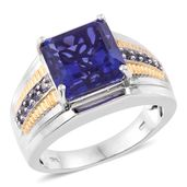Playa Quartz, Catalina Iolite 14K YG and Platinum Over Sterling Silver Men's Ring (Size 13.0) TGW 8.15 cts.