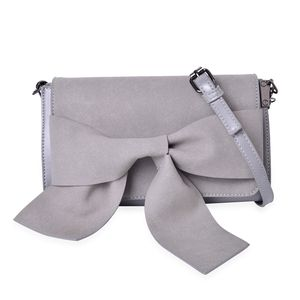 Gray Faux Leather Chic Style Crossbody Bag (9.6x3.1x5.6 in)