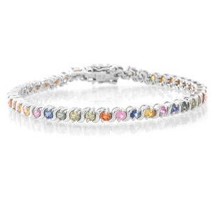 Doorbuster Multi Sapphire Sterling Silver Arching Rainbow Bracelet (7.50 In) TGW 4.73 cts.