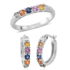 Year End Clearance Deal Multi Sapphire Sterling Silver 5 Stone Hoop Earrings and Ring with Engraved Band (Size 10) TGW 1.20 cts.