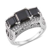 Asscher Cut Thai Black Spinel, Cambodian Zircon Platinum Over Sterling Silver Ring (Size 9.0) TGW 8.82 cts.