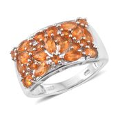 Salamanca Fire Opal Platinum Over Sterling Silver Ring (Size 5.0) TGW 1.71 cts.