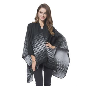 Black and Gray Houndstooth and Chevron Reversible Cozy Shawl Wrap(One Size)